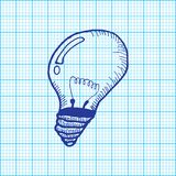 Drawing of light bulb on graph paper vector Stock Image