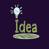 Drawing light bulb isolate on black. Freehand drawing light bulb isolate on black royalty free illustration