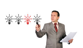 Drawing lightbulb Royalty Free Stock Images