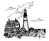 Drawing of a lighthouse and caretaker`s house by the sea, sketch  illustration. Drawing of a lighthouse and caretaker`s house by the sea, sketch, hand-drawn Royalty Free Stock Image