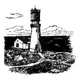 Drawing lighthouse with a two-story home  illustration Stock Photo