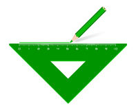 Drawing line green angle piece stock illustration
