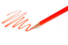 Drawing Line with Red Pencil Royalty Free Stock Photos