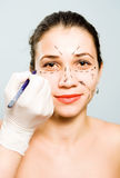 Drawing Lines For Facial Plastic Surgery Royalty Free Stock Images