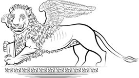 Drawing Lion with wings Royalty Free Stock Photo