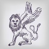 Drawing lion with wings. Drawing big lion with wings Royalty Free Stock Image