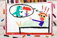 Drawing: little boy has nightmares. Scary nightmare creature Stock Image
