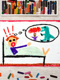 Drawing: little boy has nightmares. Scary nightmare creature. Photo of colorful drawing: little boy has nightmares. Scary nightmare creature stock photos