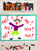 Drawing: Little boy screaming the word NO. Photo of colorful drawing: Little boy screaming the word NO Royalty Free Stock Images