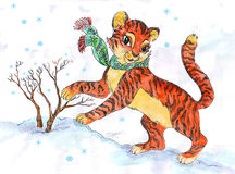 Drawing of little cute furry tiger in winter fores Royalty Free Stock Photos
