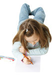 Drawing little girl Royalty Free Stock Photo