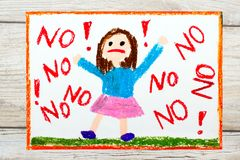 drawing: Little girl screaming the word NO stock illustration