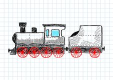 Drawing of locomotive Royalty Free Stock Images