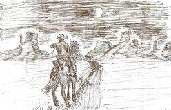 drawing of a lone cowboy on a full moon night stock illustration