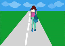 Drawing Lonely Girl walking. On the road Royalty Free Stock Photos