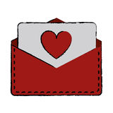 Drawing love heart  envelope mail valentine letter. Vector illustration eps 10 Royalty Free Stock Photos