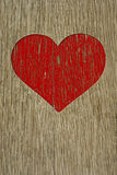 Drawing love symbol on old wooden wall Royalty Free Stock Photography