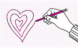 Drawing lover hand Royalty Free Stock Image