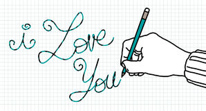 Drawing lover hand Stock Photos