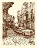 Drawing of Lviv historical building, Ukraine Stock Image