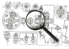 Drawing machines and Magnifier Stock Photo