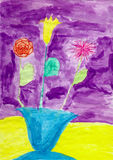 Drawing made child - Flowers in vase on violet Royalty Free Stock Images