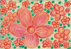 Pink flowers and jade beads. The drawing is made with wax crayons and felt pens on paper.The image size is about A4 Royalty Free Stock Images