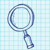Drawing of magnifying glass on graph paper vector Royalty Free Stock Photos