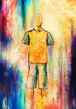 Drawing male clothes, color pencil sketch on paper. Royalty Free Stock Photos