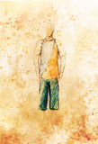 Drawing male clothes, color pencil sketch on paper. Royalty Free Stock Photography