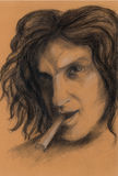 Drawing. The man with the cigar. Royalty Free Stock Photo