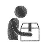 Drawing man giving box carton gift figure pictogram. Illustration eps 10 Royalty Free Stock Image