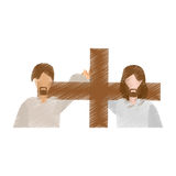 Drawing man help jesus carry cross Royalty Free Stock Images