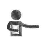 Drawing man holding document figure pictogram. Illustration eps 10 Stock Photos