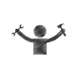 Drawing man holding hammer wrench tools figure pictogram Royalty Free Stock Image
