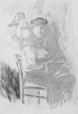 Drawing of man holding vintage lantern stock illustration
