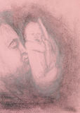 Drawing of man kissing his baby Stock Photography