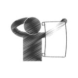 Drawing man with paper newsletter figure pictogram Royalty Free Stock Photos