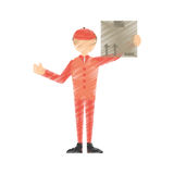 Drawing man post mail box Stock Images