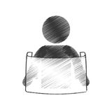 Drawing man reading print paper figure pictogram. Illustration eps 10 Royalty Free Stock Image
