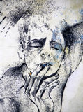 Drawing of a man smoking a cigarette Stock Photos