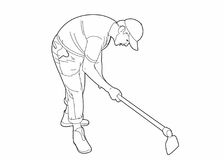 Drawing of a man with a spade. Vector illustration of a man with a spade,file eps 10 Vector Illustration