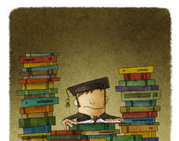 Drawing of man surrounded with books. Caricature drawing of person in academic hat reading and surrounded with mountains of books Royalty Free Stock Photos