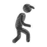 Drawing man walking with cap figure pictogram. Illustration eps 10 Stock Photos