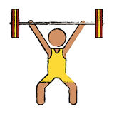 Drawing man weight lifter sport athlete Stock Photos