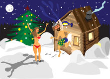 Drawing a man and a woman running away from the sauna Royalty Free Stock Photos