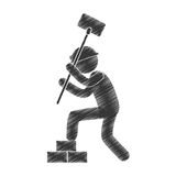 Drawing man worker hammer brick stack figure pictogram Royalty Free Stock Images