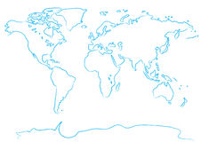Drawing map a brush Royalty Free Stock Photos