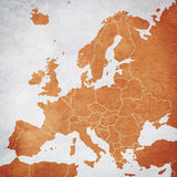 Drawing the map of Europe. (textured Stock Photos
