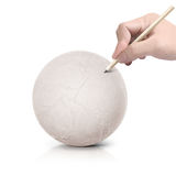 Drawing map on paper ball Stock Images
